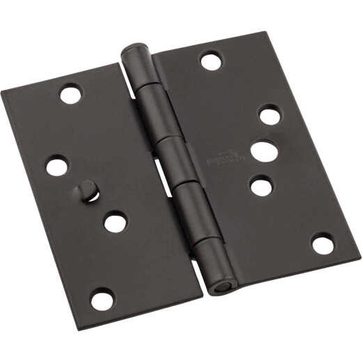 National 4 In. Oil Rubbed Bronze Square Door Hinge, (3-Pack)