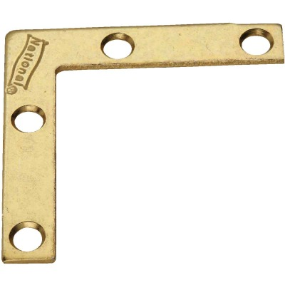 National Catalog 117 2 In. x 3/8 In. Brass Flat Corner Iron (4-Count)
