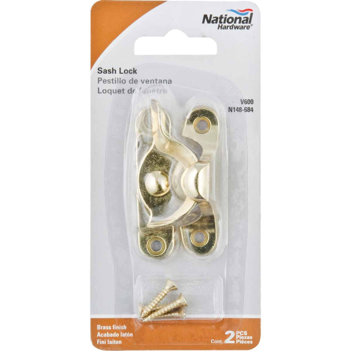 National Brass 7/8 In. Crescent Sash Lock Image 2