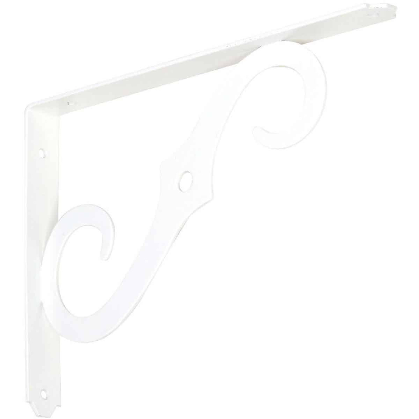 National 152 10 In. D. x 7 In. H. Antique White Steel Ornamental Shelf Bracket/Plant Hanger Image 1