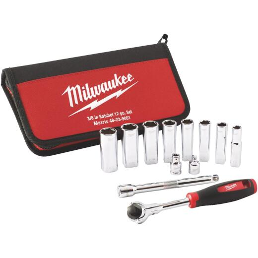Milwaukee Metric 3/8 In. Drive 6-Point Ratchet & Socket Set