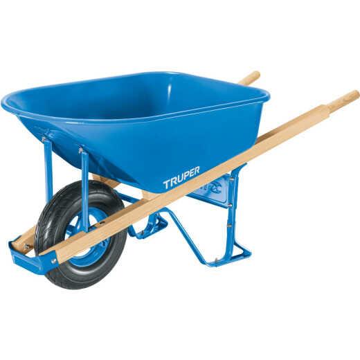 Truper 6 Cu. Ft. Steel Wheelbarrow with Flat Free Tire