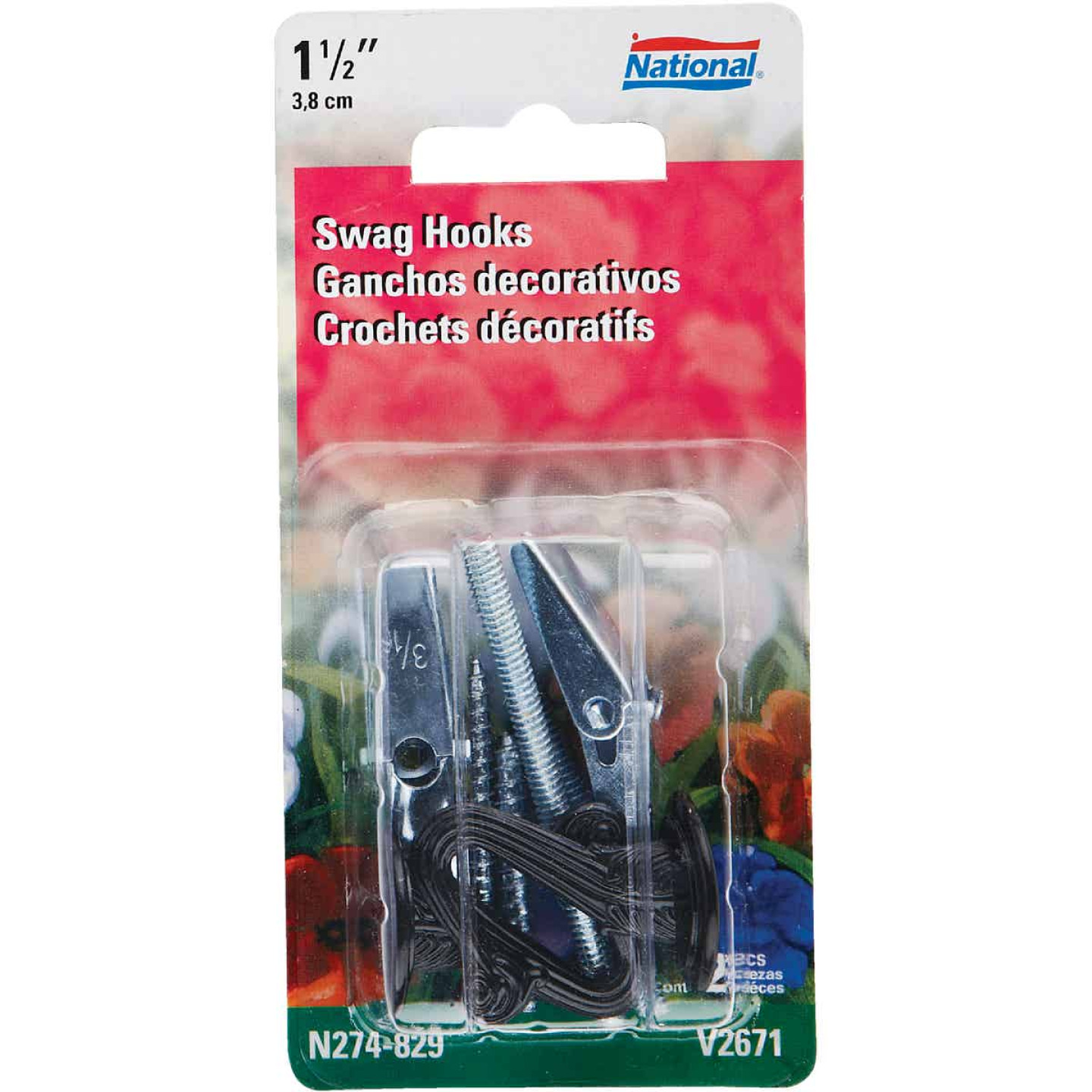 National 1-1/2 In. Black Die Cast Swag Hook (2-Pack) Image 1