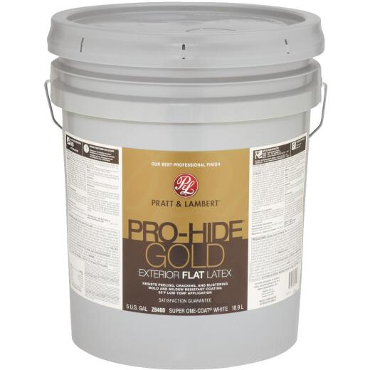 Pratt & Lambert Pro-Hide Gold Latex Flat Exterior House Paint, Super One-Coat White, 5 Gal.
