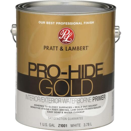 Pratt & Lambert Pro-Hide Gold Waterborne Interior/Exterior Stain Blocking Primer, White, 1 Gal.