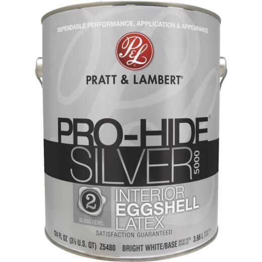 Pratt & Lambert Pro-Hide Silver 5000 Latex Eggshell Interior Wall Paint, Bright White Base, 1 Gal.