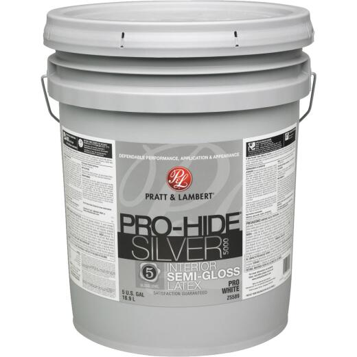 Pratt & Lambert Pro-Hide Silver 5000 Latex Semi-Gloss Interior Wall Paint, Pro White, 5 Gal.