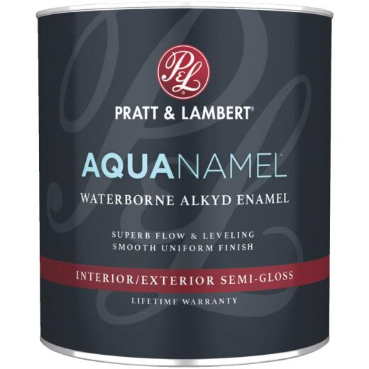 Pratt & Lambert Aquanamel Waterborne Alkyd Semi-Gloss Interior/Exterior Enamel, Bright White Base, 1 Qt.