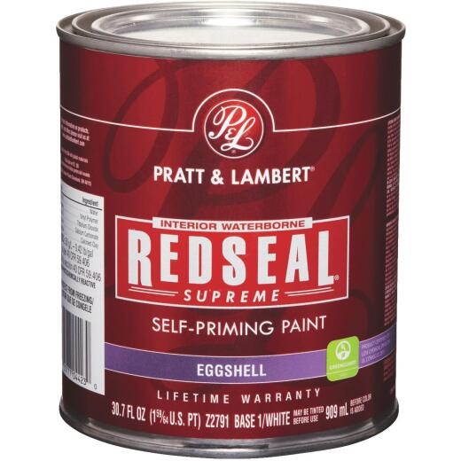 Pratt & Lambert Redseal Supreme Latex Eggshell Interior Wall Paint, Base 1 White, 1 Qt.