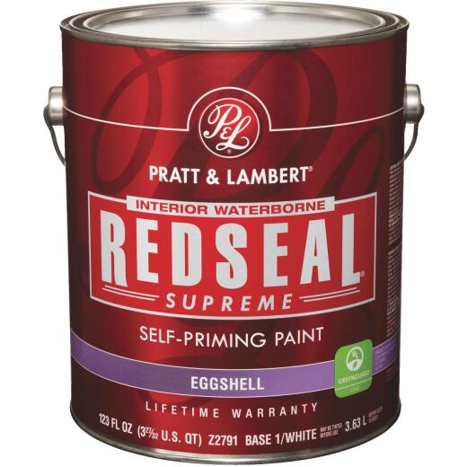 Pratt & Lambert Redseal Supreme Latex Eggshell Interior Wall Paint, Base 1 White, 1 Gal.